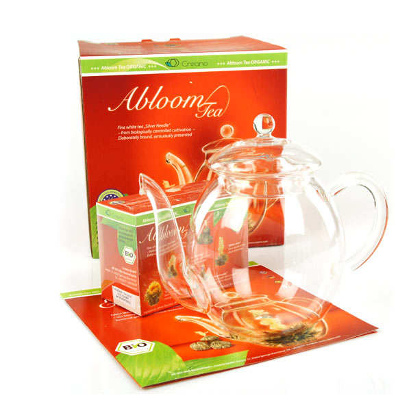 Gift set of teapot and 4 organic tea flowers