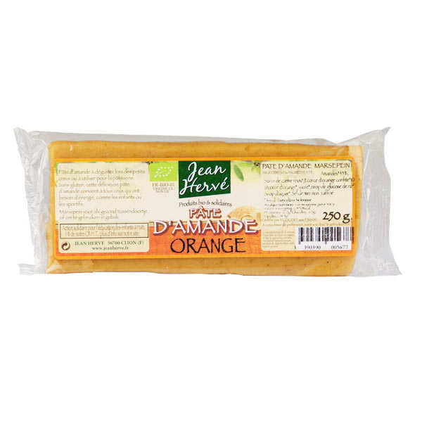 Organic almond paste with orange peel