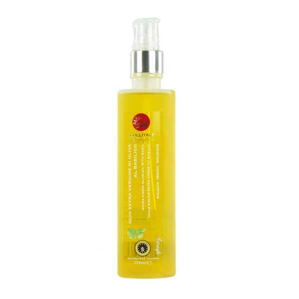 Organic extra virgin olive oil spray with basil