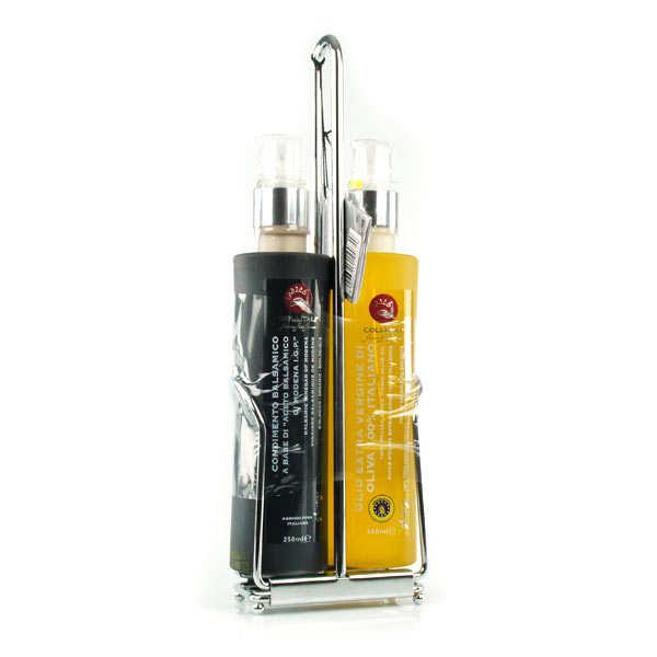 Présentoir inox sprays bio vinaigre balsamique et huile d'olive italie - 2 bouteille plastiques de 250ml et support inox