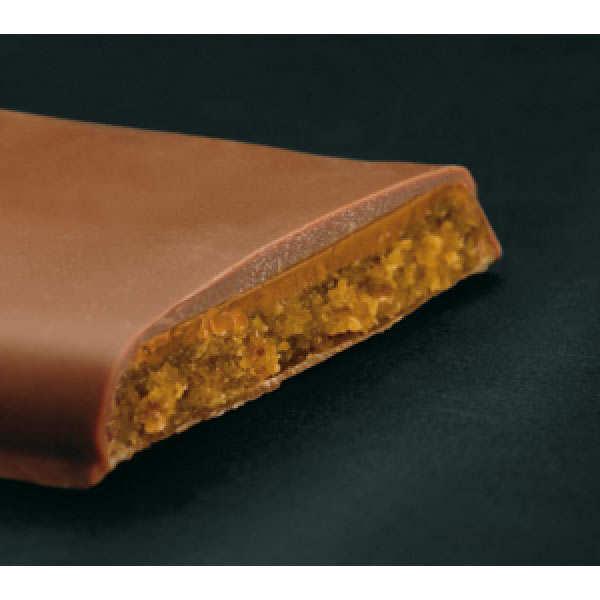 Barre de chocolat fourrée au caramel, dattes et nougat