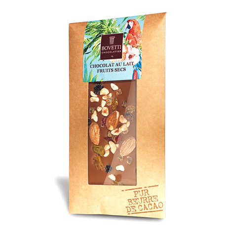 Bovetti chocolats - Milk chocolate tablet with dried fruit