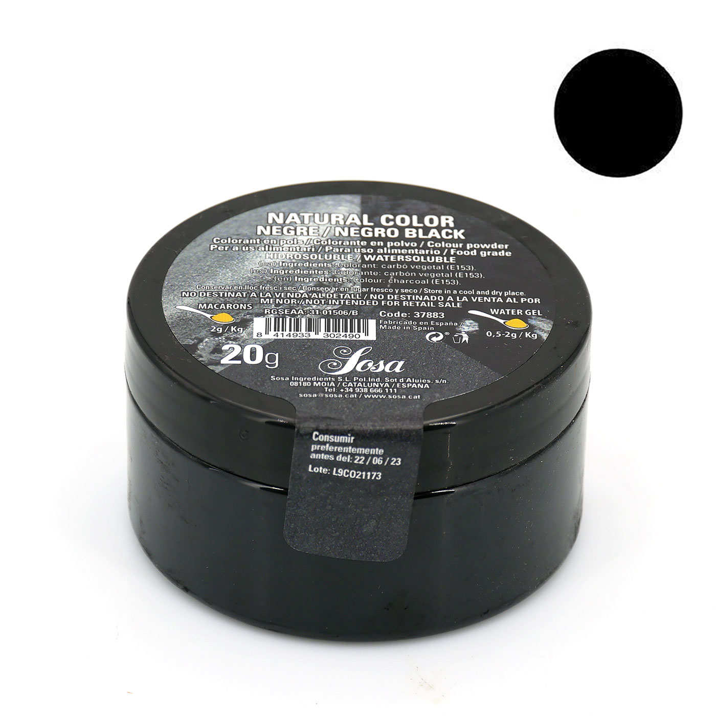 Black colouring powder - non-azoic and water-soluble