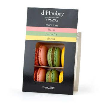 D'Haubry - Coffret de 6 macarons assortis (fraise, pistache et citron)