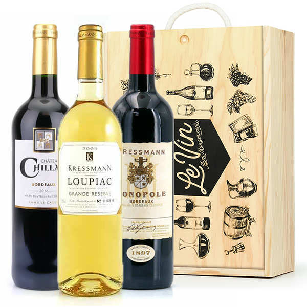 Box of 3 Bordeaux bottles (Loupiac, St Emilion, Bordeaux)