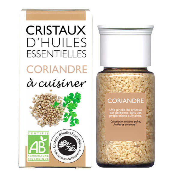 Organic coriander essential oil crystals