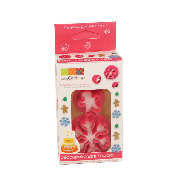 Plunger icing cutter - Christmas tree, snowflake & gingerbread man