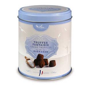 Chocolat Mathez - Truffes fantaisie à la fleur de sel de Guérande - boîte métal