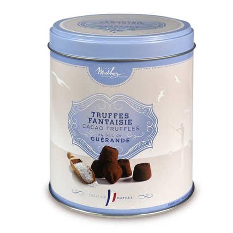 Chocolat Mathez - Truffes fantaisie au sel de Guérande - boîte métal