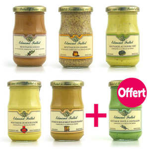 Fallot - Lot de 5 moutardes Fallot + 1 offerte