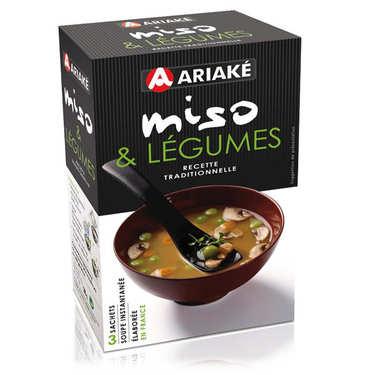Soupe miso et légumes instantanée en sachets