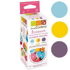 ScrapCooking ® - Colorants origine naturelle - poudres bleu, jaune/orange, pourpre