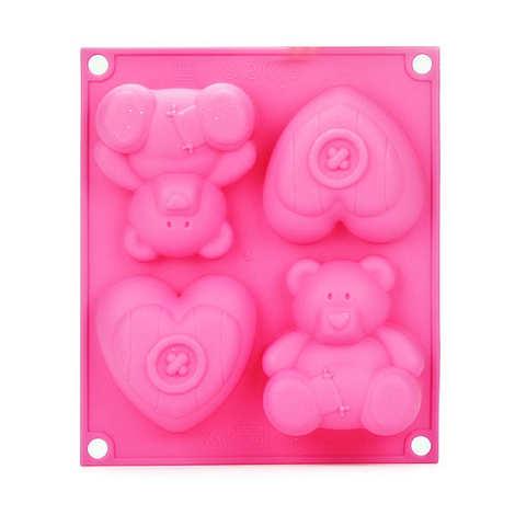 Silikomart - Moule silicone pour gâteaux individuels 2 oursons et 2 coeurs