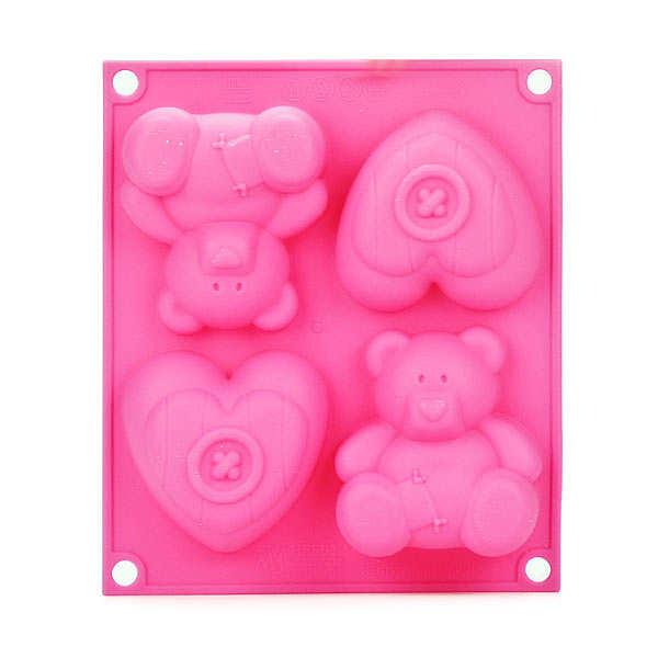 Moule silicone pour gâteaux individuels 2 oursons et 2 coeurs - le moule
