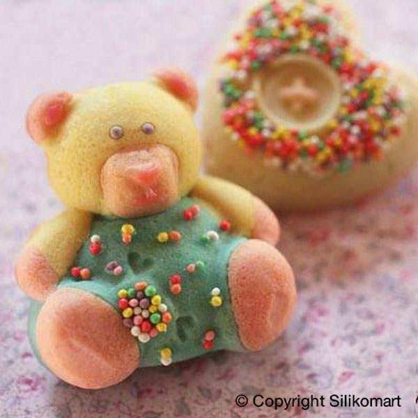 Moule silicone pour gâteaux individuels 2 oursons et 2 coeurs