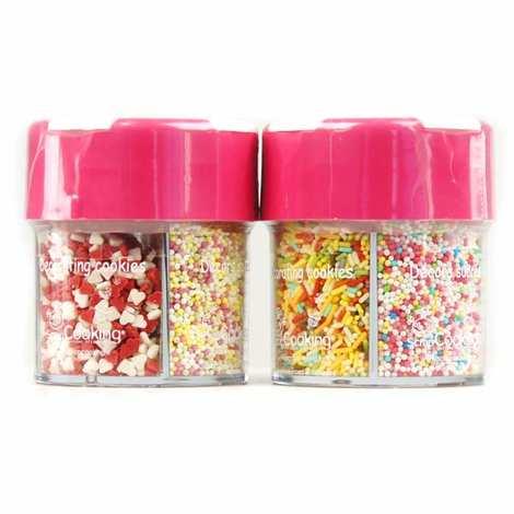 ScrapCooking ® - Distributeur minisucres décor gâteaux coeurs, billes, vermicelles