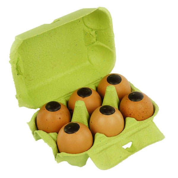 Boîte à oeufs de Pâques - 6 oeufs coquilles véritables fourrés praliné