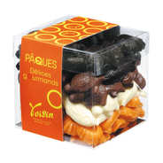 Voisin chocolatier torréfacteur - Le cube de friture de Pâques assortie noir, lait, blanc et orange