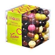 Voisin chocolatier torréfacteur - Le cube assortiment d'oeufs en chocolat multicolores