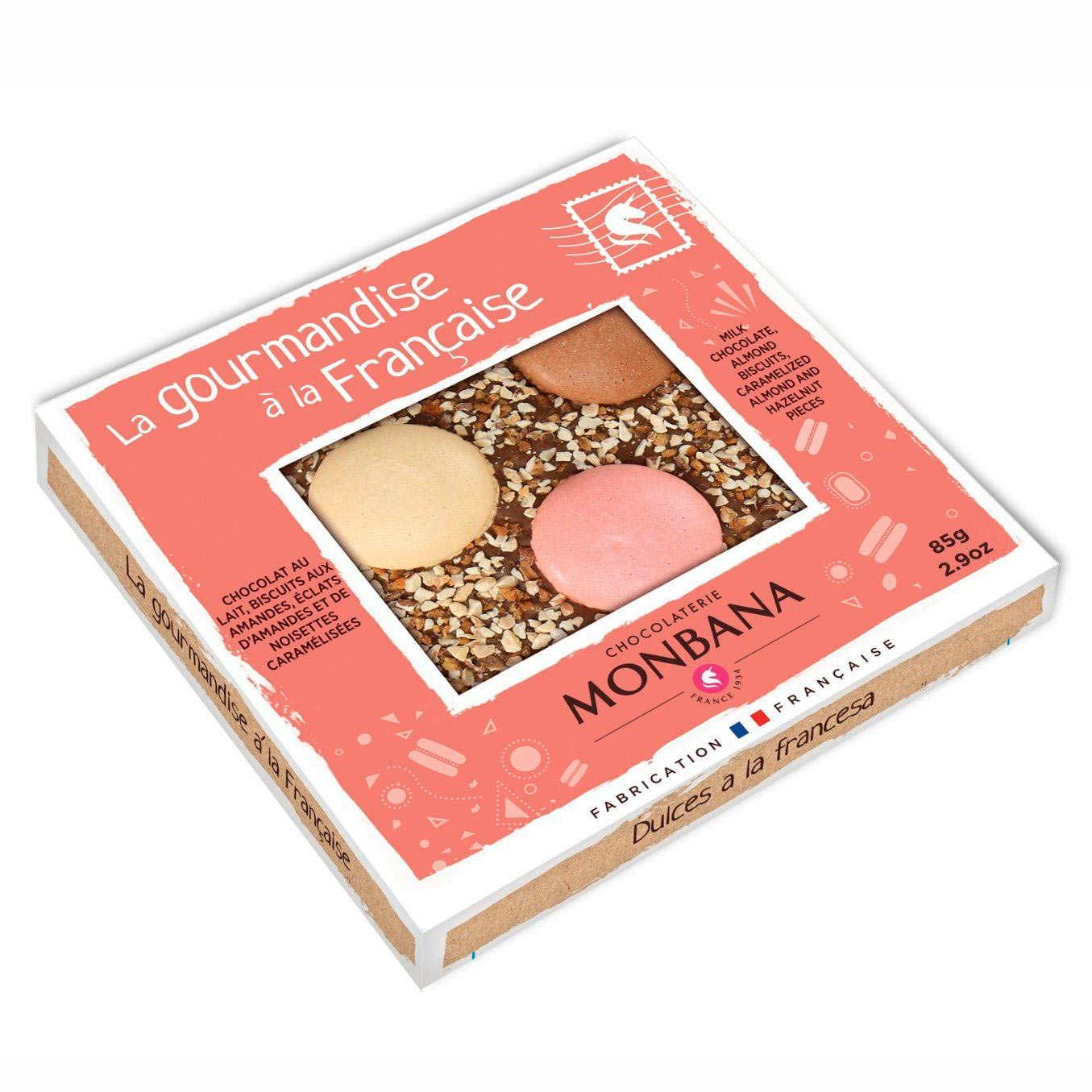 Tablette de chocolat incrustée de macarons - La Parisienne