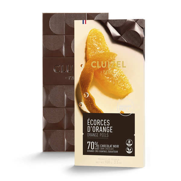 Dark chocolate with candied orange peel by Michel Cluizel