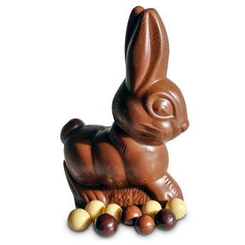 Belledonne Chocolatier - Lapin de Pâques en chocolat au lait Bio garni de billes chocolatées
