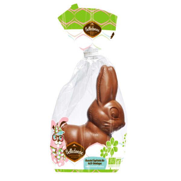 Lapin de Pâques en chocolat au lait Bio garni de billes chocolatées