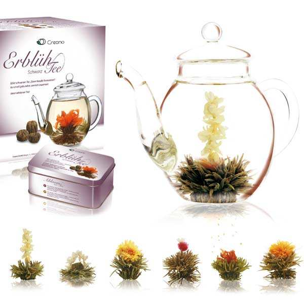 Teapot and Abloom Black Tea Flowers Gift Set