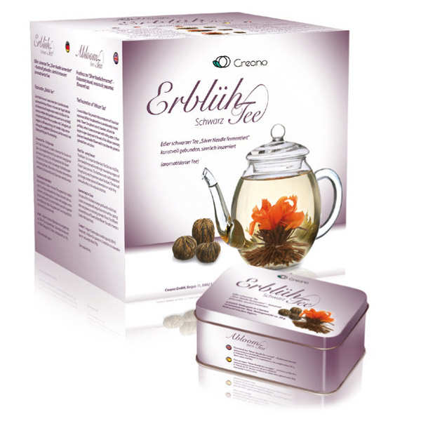 Teapot and Abloom Black Tea Flowers Gift Set