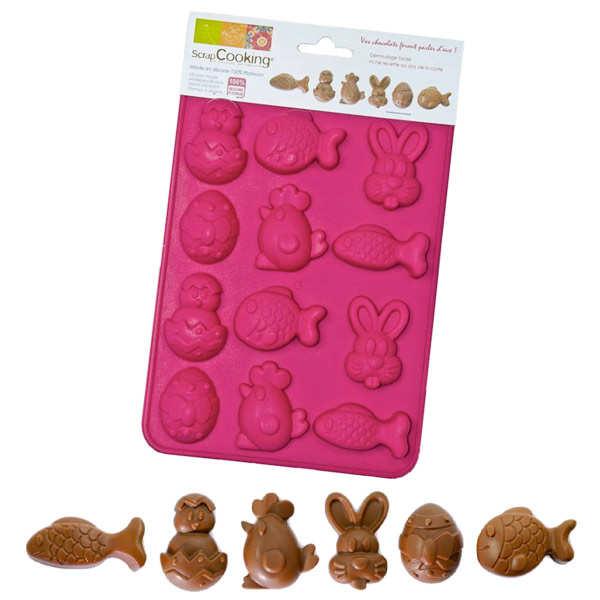 Moule pour chocolats animaux (poisson, poussin, lapin, poule)
