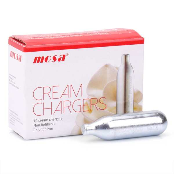 Chargers for whipped cream and mousse dispensers