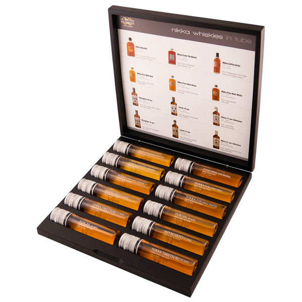 coffret d gustation nikka in tube 12 whiskies whisky nikka. Black Bedroom Furniture Sets. Home Design Ideas